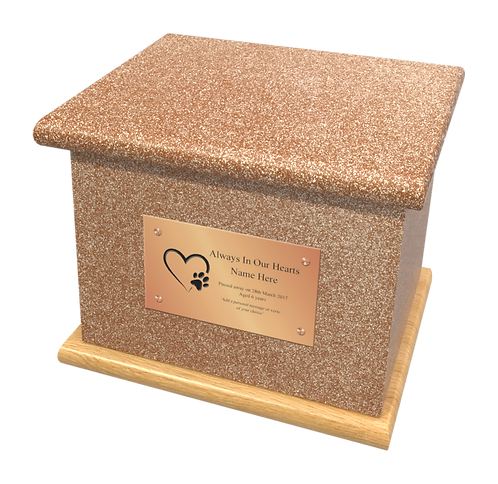 Custom Personalised PET Animal Cat Dog Ashes Casket Urn In Glitter Design