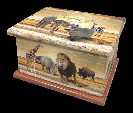 Custom Personalised Cremation Ashes Casket AFRICA KENYA SAFARI LIONS ELEPHANTS