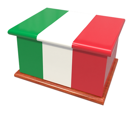Custom Personalised Ashes Casket in a ITALIAN FLAG design