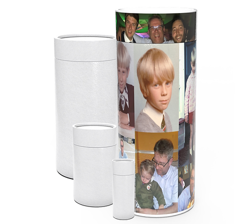 Personalised Custom Bespoke Ashes Scattering Tube Urn for Cremated Remains in a Hobby Interest MONTAGE PHOTOGRAPHICdesign