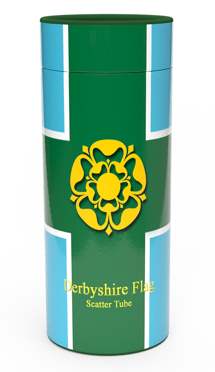 Personalised Custom Bespoke Ashes Scattering Tube Urn for Cremated Remains in Flag DERBYSHIRE design