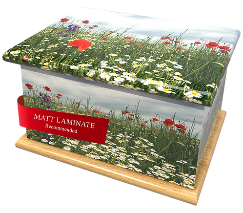 Custom Personalised Cremation Ashes Casket in WILD FLOWER SPRING MEADOW design