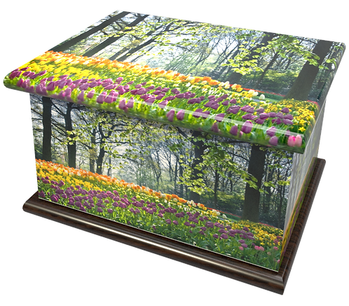 Custom Personalised Cremation Ashes Casket in FLORAL TULIPS AND DAFFODILS design