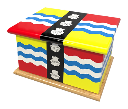 Personalised Custom Cremation Ashes Caskets COUNTRY AND BRITISH COUNTY FLAGS BEDFORDSHIRE
