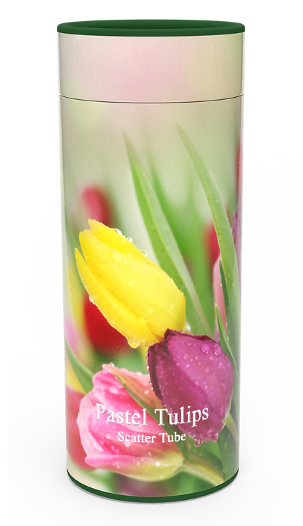 Custom Personalised Funeral Cremation Ashes Casket Urn Floral Flower Designs  PASTEL TULIPS