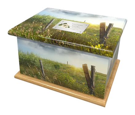 Custom Personalised Cremation Ashes Casket Urn COUNTRYSIDE SCENIC MEADOW WOODLAND