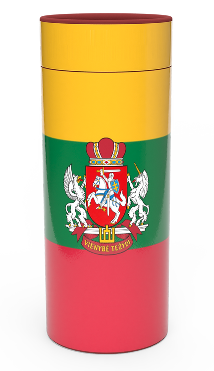 Personalised Custom Bespoke Ashes Scattering Tube Urn for Cremated Remains in Flag LITHUANIA design