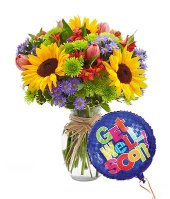 Bright Florist VaseChoice with Get Well Balloon