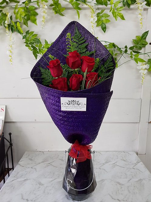 Red Roses in Purple Flax Wrap