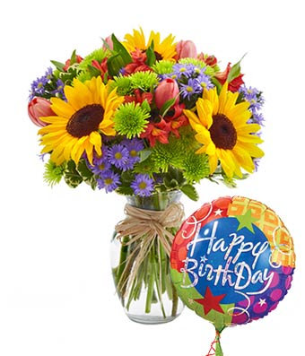 Bright VASE Florist Choice with Birthday Balloon
