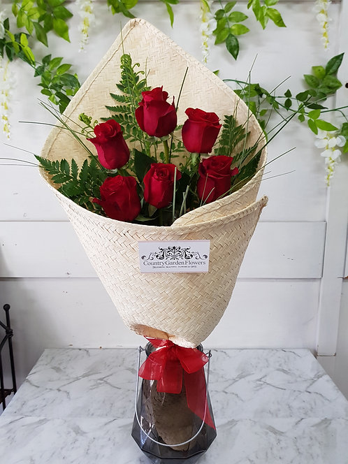Red Roses in Cream Flax Wrap
