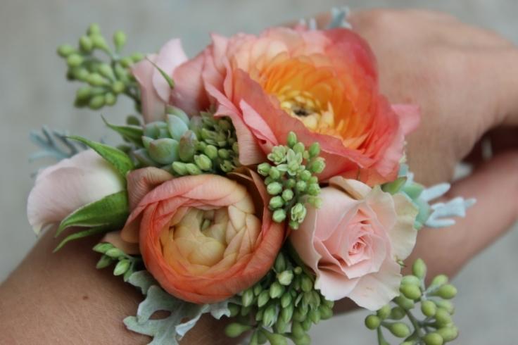 Peach Coral & Grey Wrist Corsage $45