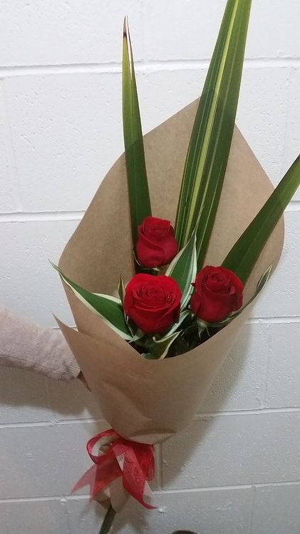 Triple Red Colombia Roses