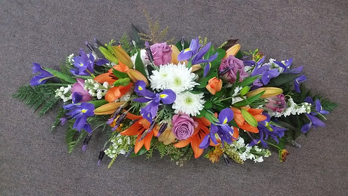 Funeral Spray Purple & Orange
