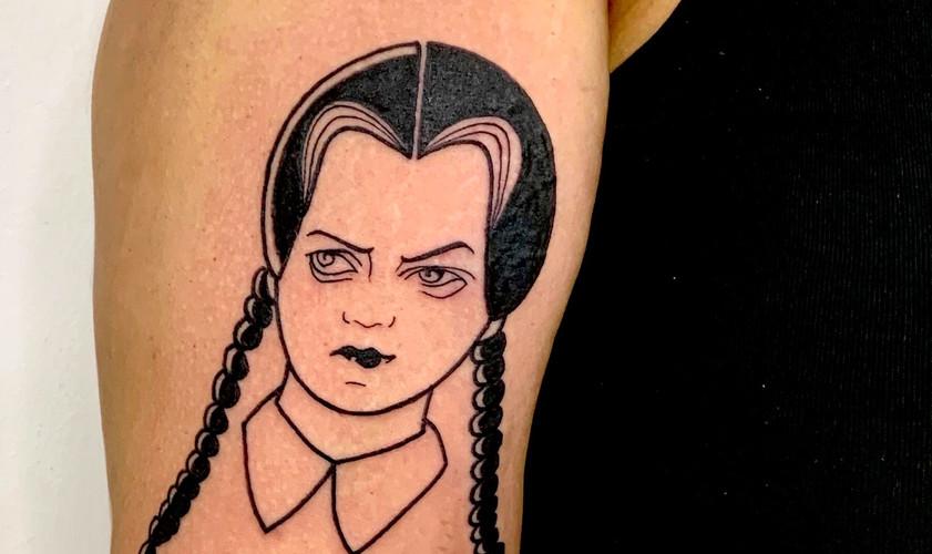 Wednesday Addams graphic tattoo illustra
