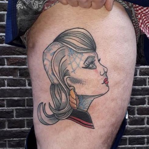 Skinbird tattoo _ neotraditional girl _