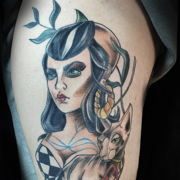 Neo traditional pin up with sphinx cat b