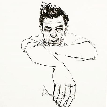 Johnny Cash illustration portrait pencil