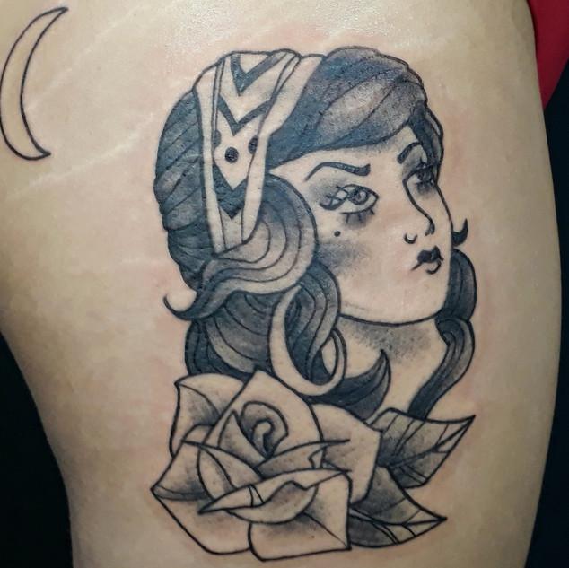 Old school gypsy girl tattoo _ black wor