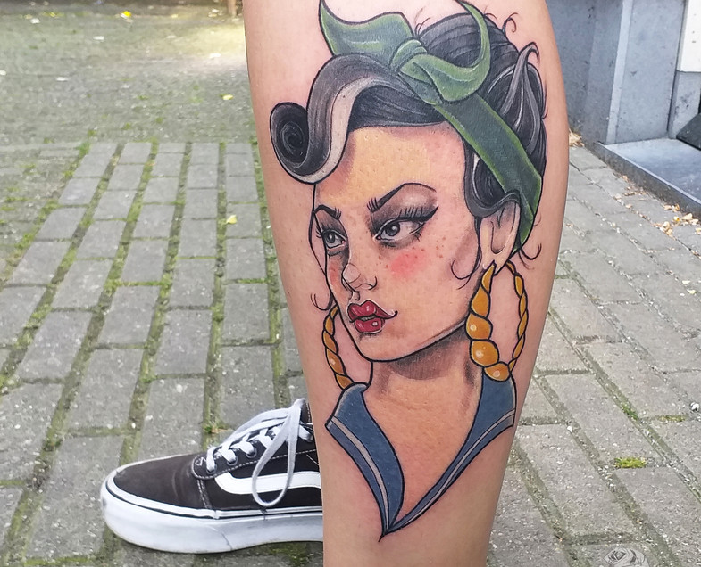 Neo traditional pin up by Gien Amsterdam