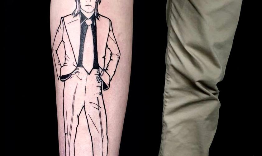 David Bowie graphic portrait line tattoo