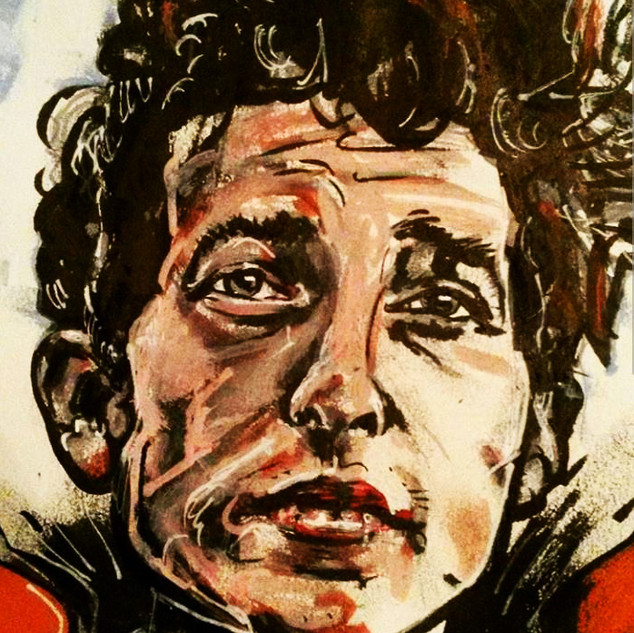 Painting Bob Dylan caricature