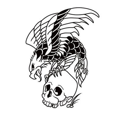 Eagle and skull old school tattoo design traditional Gien Amsterdam