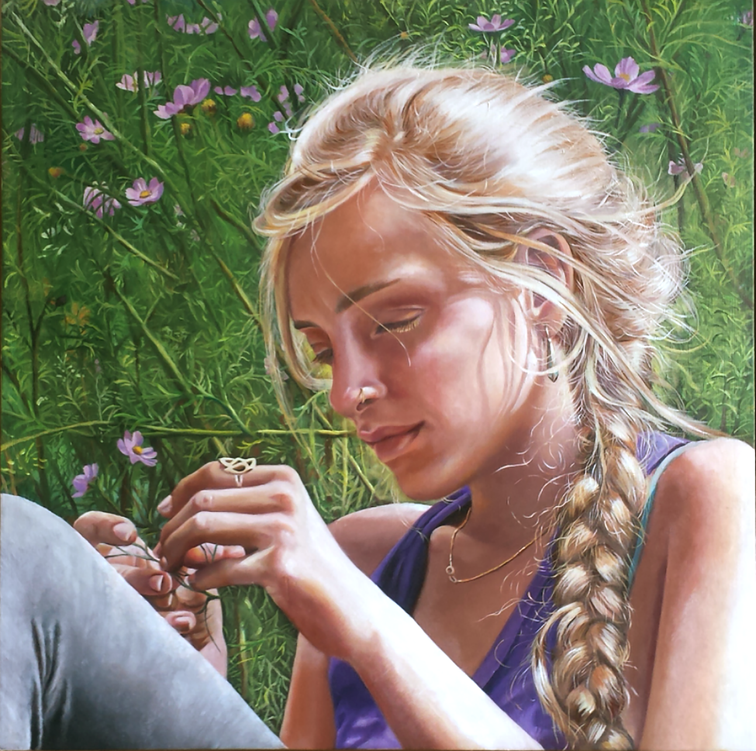 Talya in a field of flowers