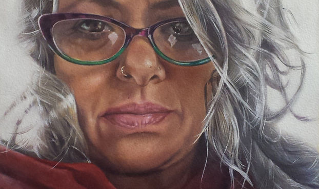 Self portrait -oil on paper pasted on wo