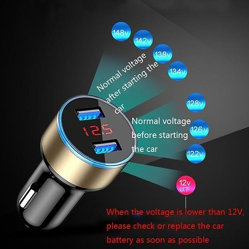 3.1A Dual USB 2 Port LCD Display 12-24V Car Charger