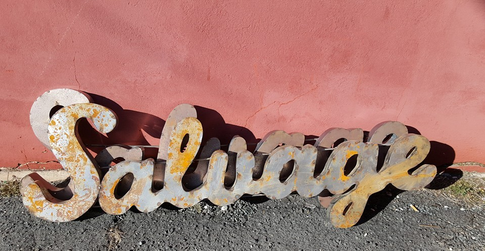 Metal SALVAGE sign sold