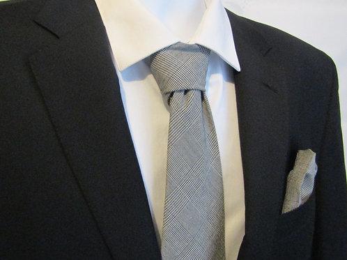 Black & White Plaid 2 Piece Necktie Set