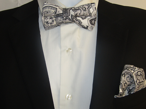 Black & Grey Paisley 2 Piece Bow Tie Set