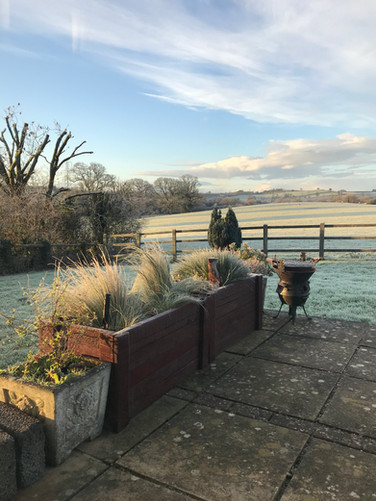 A frosty start in the garden at Heron Cottage Newhouse Barton Devon