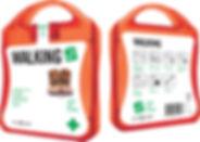 MyKit Walking. Ideales Set für jeden Spaziergänger. Mit diesem Set können Sie kleine Unfälle und Blasen behandeln und Sie können Sie nach einem langen Spaziergang erfrischen. Inhalt: 12 wasserfeste Pflaster, 4 hautreinigende Tupfer, 2 Trockentupfer, 2 Reinigungstücher, 2 Blasenpflaster, 2 Fußgel, 1 Pinzette. Alle im Set enthaltenen Erste-Hilfe- und Pflegeprodukte erfüllen alle geltenden EU-Vorschriften. Preis inkl. vollfarbigem Druck. Kunststoff.