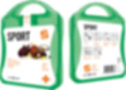 MyKit Sport. Ideales Erste-Hilfe Set für jeden Sportler. Dieses Set hilft Ihnen bei kleinen Verletzungen und Unfällen. Inhalt: 12 wasserfeste Pflaster, 4 hautreinigende Tupfer, 2 Trockentupfer, 2 Eisgel, 2 Blasenpflaster, 1 elastischer Sportverband. Alle im Set enthaltenen Erste-Hilfe- und Pflegeprodukte erfüllen alle geltenden EU-Vorschriften. Preis inkl. vollfarbigem Druck. Kunststoff.