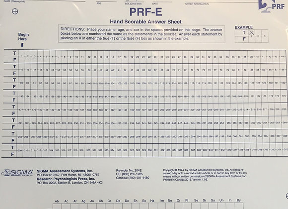 5002-20406  PRF FORM E HAND ANSWER SHEETS (PQT 25)