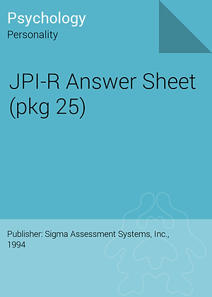 5002-32040  JACKSON PERSONALITY INVENTORY REVISED ( JPI-R ) QUICK SCORE ANSWER