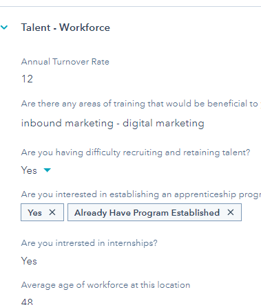 This is a HubSpot record showing the profile of a company's workforce and talent needs