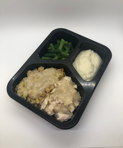 Turkey and Dressing with Mash and Green Beans