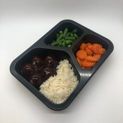 BBQ Meatballs w Rice, Carrot, Green Beans