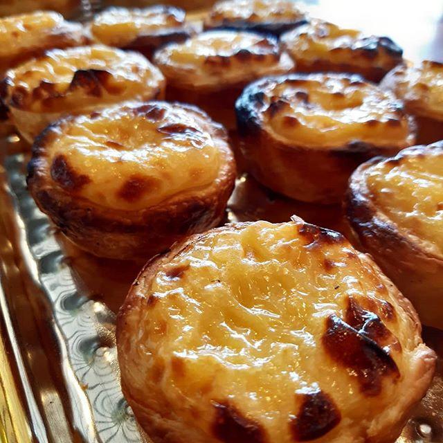 Golden. These Portuguese custard tarts a