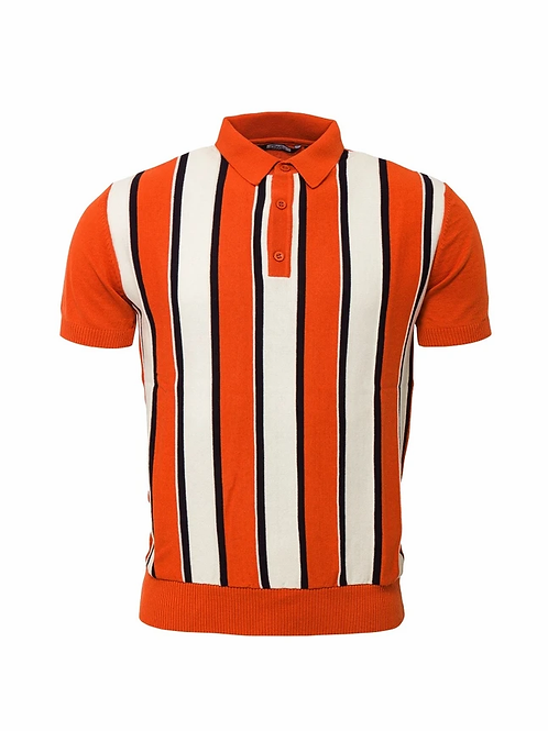 Relco Knitted Striped Polo - Burnt Orange - VS-5