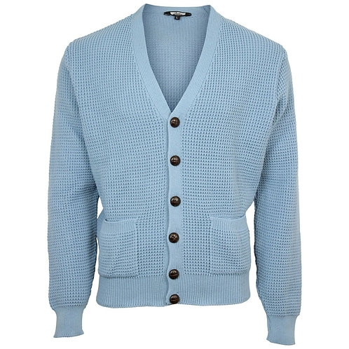 Relco Waffle Knit Cardigan - Sky Blue