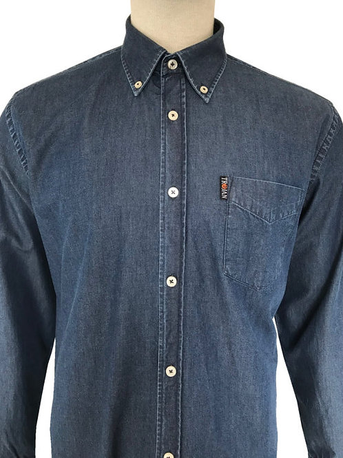 Trojan Denim Long Sleeved Button Down Shirt 8465 - Indigo