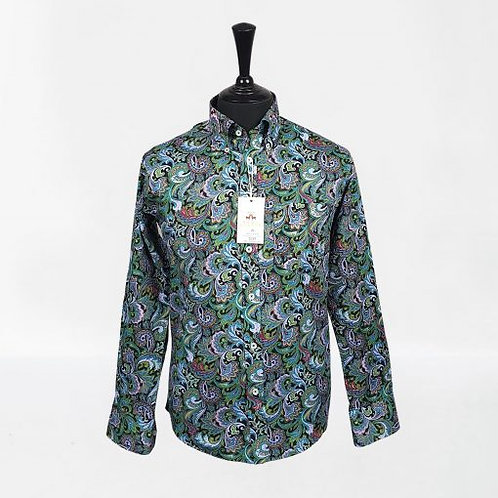 Real Hoxton Green Paisley Long Sleeves Shirt - 5239