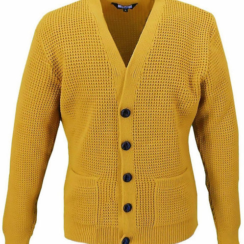 Relco Waffle Knit Cardigan - Mustard