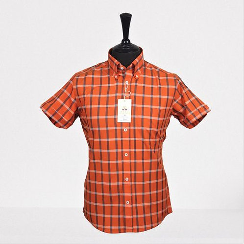 Real Hoxton Orange Blue White Check Short Sleeves Shirt - 5245