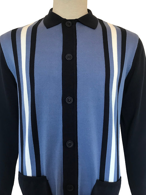Ska & Soul Stripe Front Cardigan - 2307 Navy