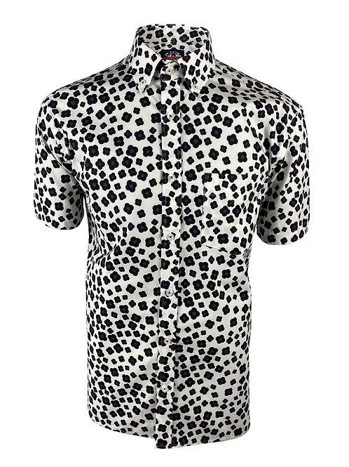 Ska & Soul B/D Mono Floral Print Shirt - 2356 White